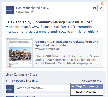 Facebook Seiten - Kommentare sortieren