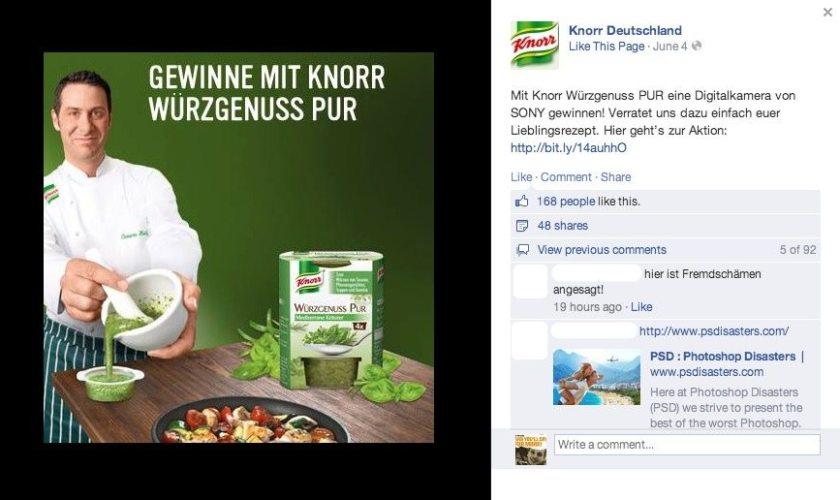 Facebook Anzeigen Fail - Knorr Deutschland
