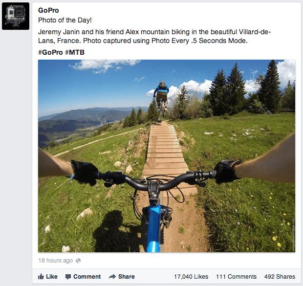Facebook Hashtags für Seiten - Beispiel Go Pro