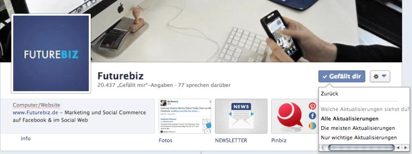 Facebook Seiten - Aktualisierungen von Beiträgen wählen