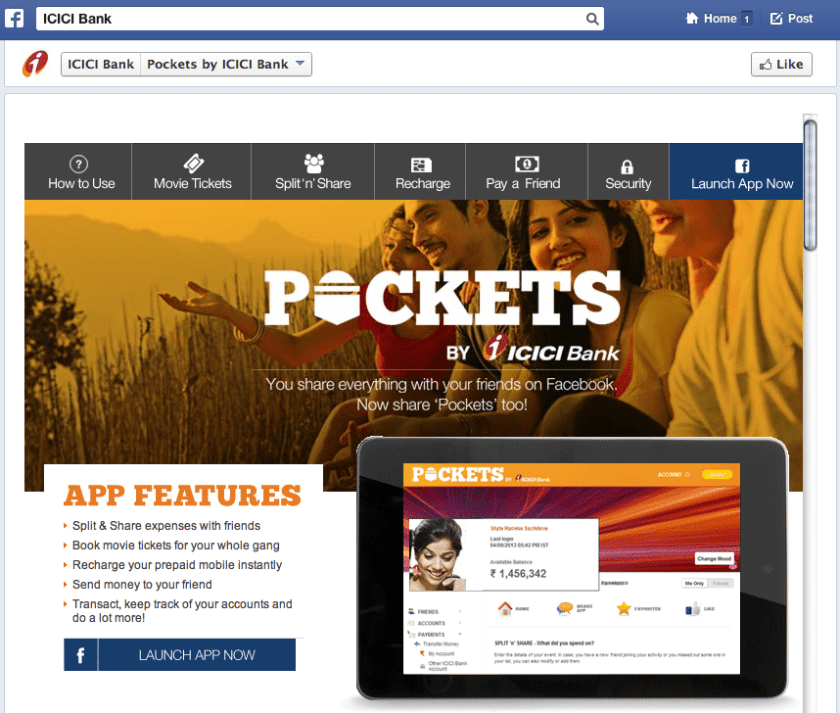Facebook Banking App - ICICI Pockets