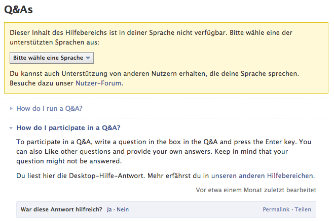 Facebook Hilfebereich - Q&As