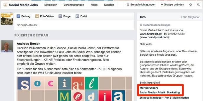 Facebook Gruppen - Markierungen