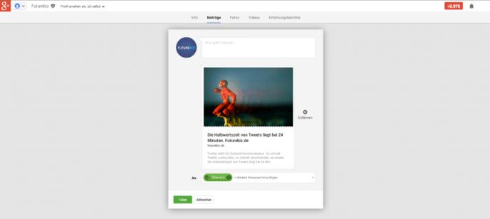 Google+ Linkvorschau - größere Darstellung