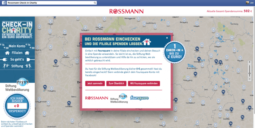 Foursqaure Kampagnen - Rossmann Check-In Charity