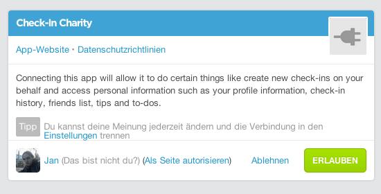 Foursquare Berechtigungen - Rossmann Kampagne Check-In Charity