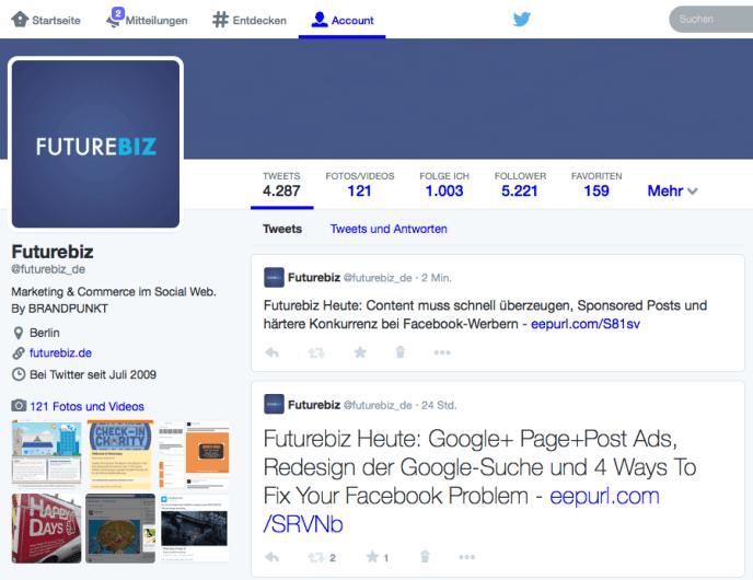 Neues Twitter Design - Optimale Größe Profilbild