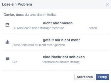 Facebook Seiten - Negatives Feedback per Facebook Direktnachrichten übermitteln 1