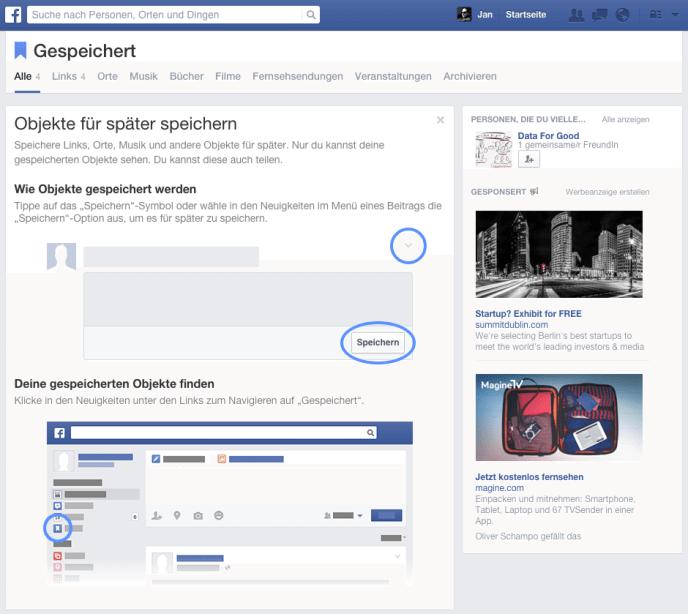 Facebook Bookmarking - Gespeichert