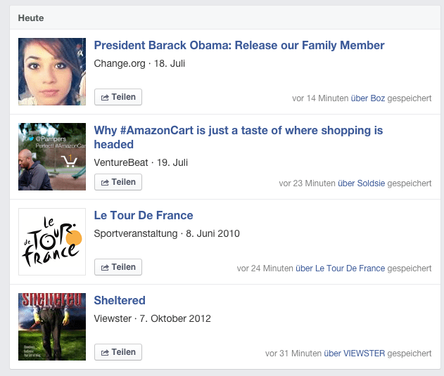 Gespeichert - Facebook Bookmarking Darstellung der Beiträge