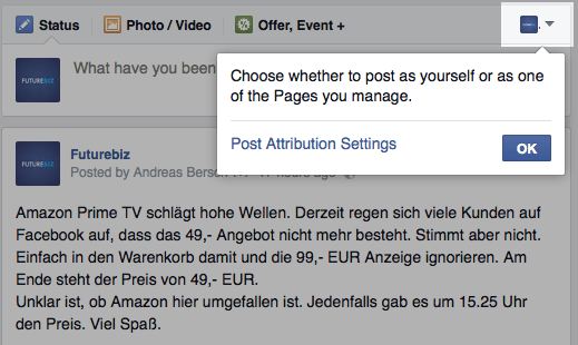 Facebook Beitragsattribution - eigene Seiten