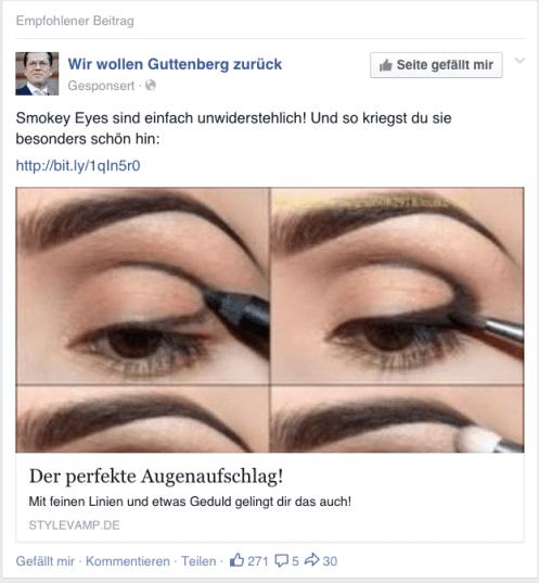 Facebook News Feed Spam - Wir wollen Guttenberg zurück