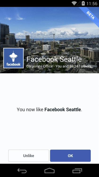 Facebook Mobiler Gefällt mir Button - Facebook Seiten