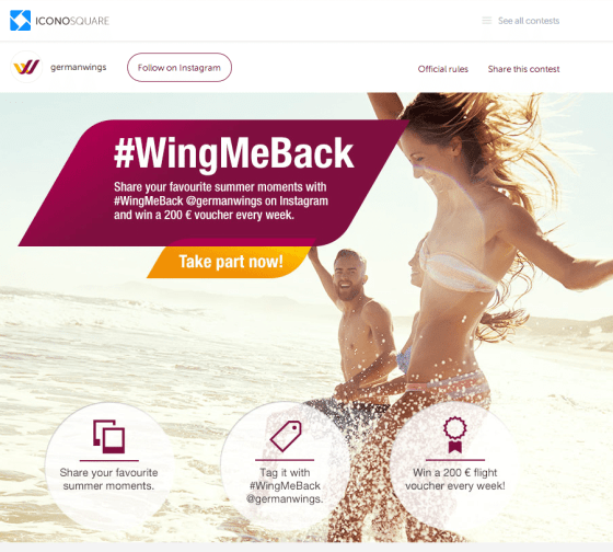 Instagram Kampagne - Germanwings WingMeBack