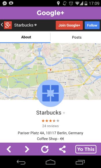 Yo Messenger für Unternehmen - Beispiel Location Yo mit Starbucks