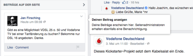 Facebook Community Mangement - Darstellung von Supportanfragen