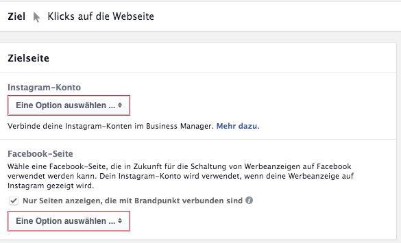 Auswahl Instagram Profile im Facebook Power Editor