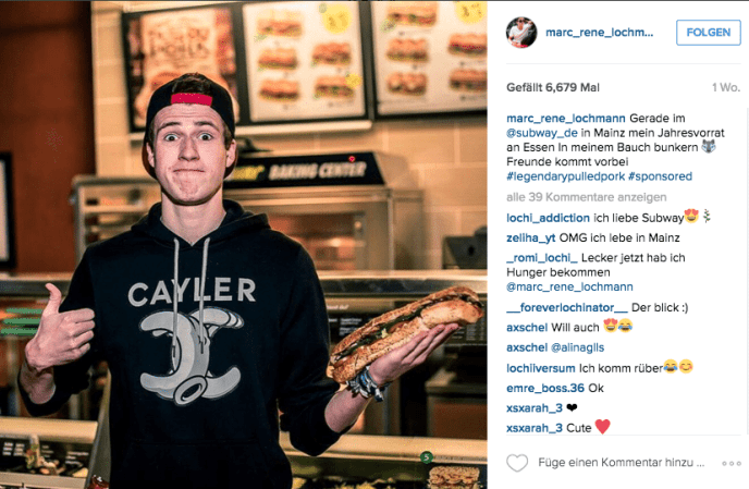 Influencer Marketing auf Instagram_subway_de