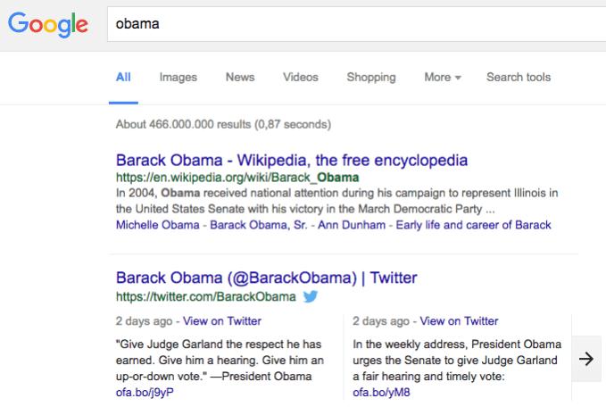 Twitter - Integration von Tweets in Google Suchergebnisse