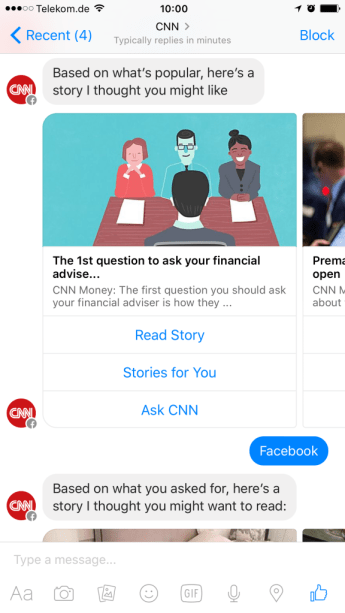 Facebook Messenger Bot CNN I