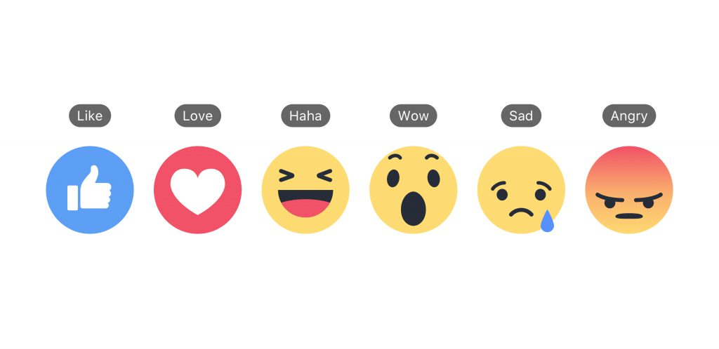 Facebook Reactions und Bezeichnungen