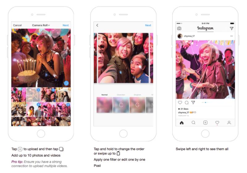 Instagram Karussell - Mehrere Fotos oder Instagram Video teilen.
