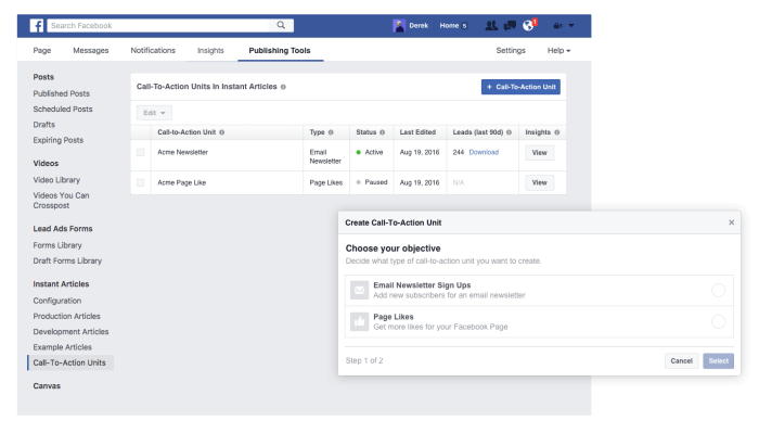 Facebook Instant Articles Call to actions Newsletter Leads