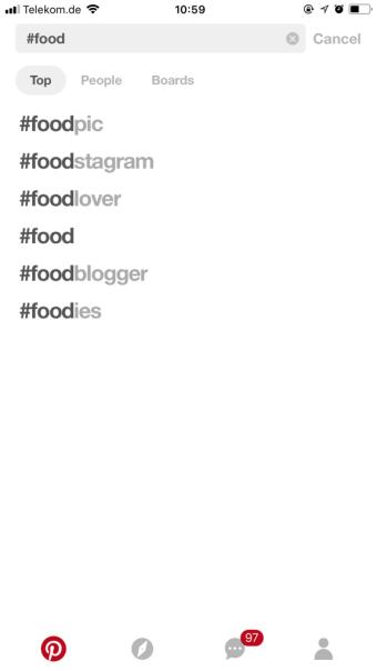 Pinterest Hashtags - Hashtag Suche