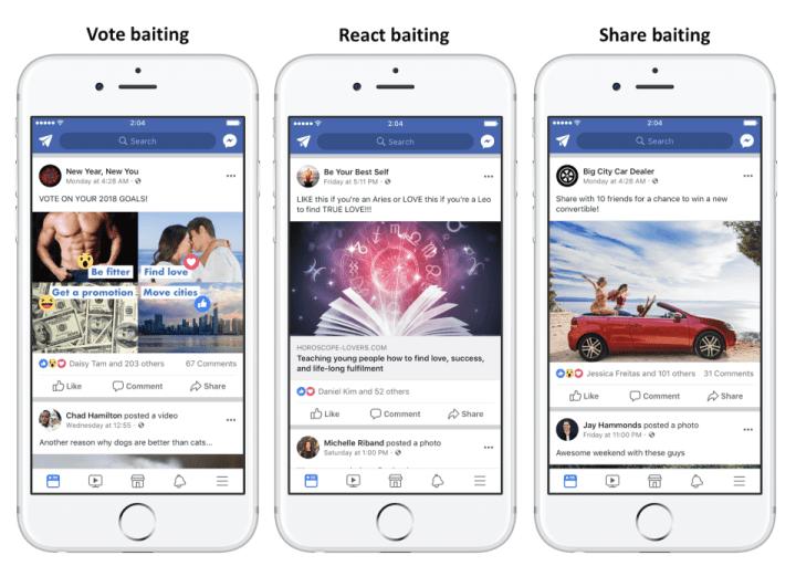 Facebook News Feed Algorithmus -Reaction Votings Markiere einen Freund