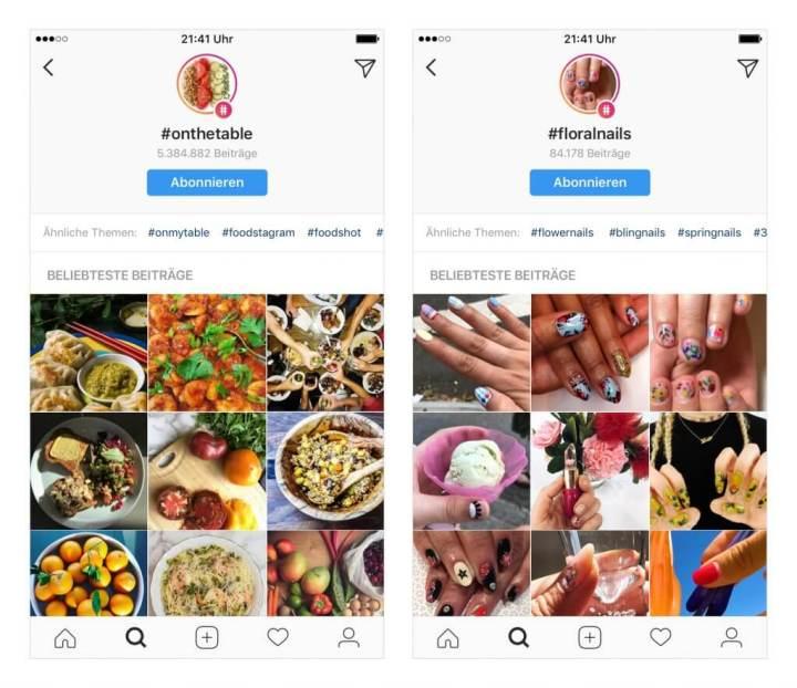Instagram Hashtag-Seiten folgen