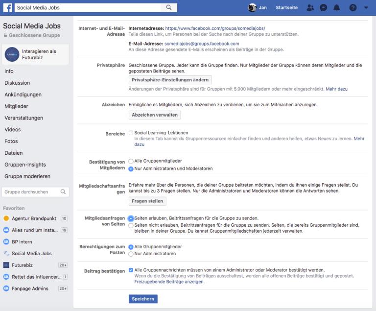 Facebook Gruppen - Beitrittsanfragen Facebook Seiten