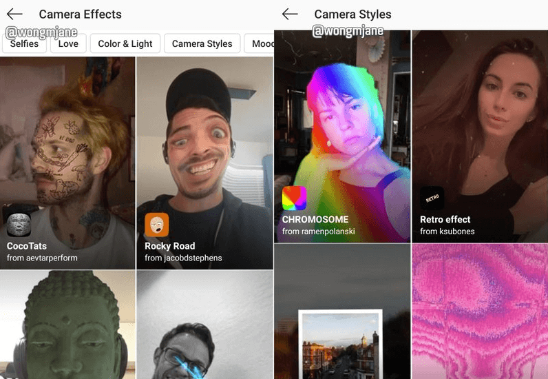 Instagram Augmented Reality Filter und Effekte bald im Explore-Bereich?