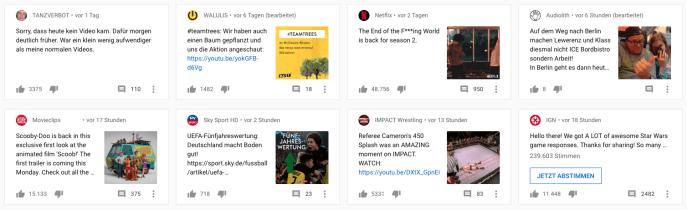YouTube-Design-Beiträge-Startseite
