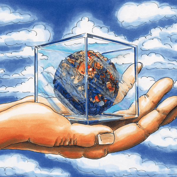 A hand holding a glass box with a ball inside - Illustrations with Adobe