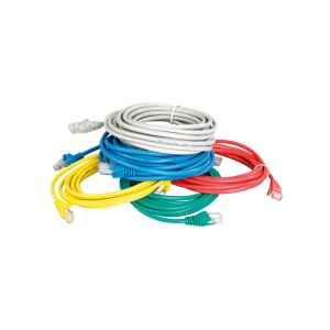 Various coloured Cat 5e UTP Patch Leads on a pile