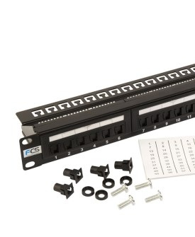 24 Way Cat 5e Patch Panel with cage nuts and numbered lables