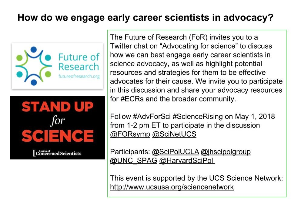 Tweetchat 1-2pm EST May 1: How do we encourage early career scientists in advocacy?