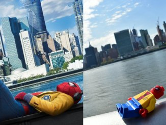 Spider-Man Homecoming Poster recreated in LEGO in New York