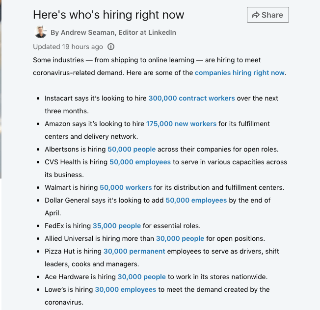 list of companies hiring during coronavirus from linkedin