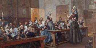 Max Silbert: Gesangsstunde in der Kinderschule, detail, 1907