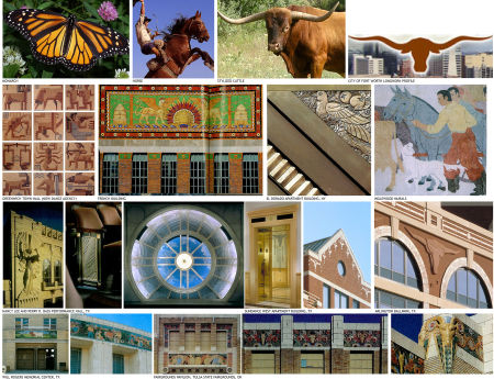 A small portion of context and iconography images gathered during early phases of design for the Fort Worth Arena, which will be primarily used to host the annual Stock Show & Rodeo.
