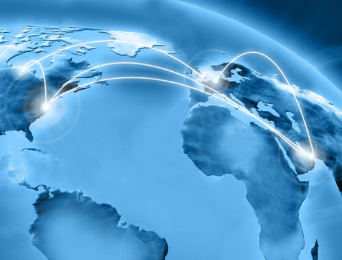 view of countries on a globe with white lines connecting future systems locations.