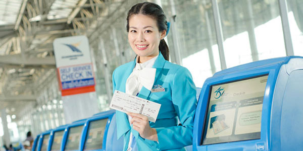 Bangkok Airways common-use self-service (CUSS) kiosks at Suvarnabhumi International Airport