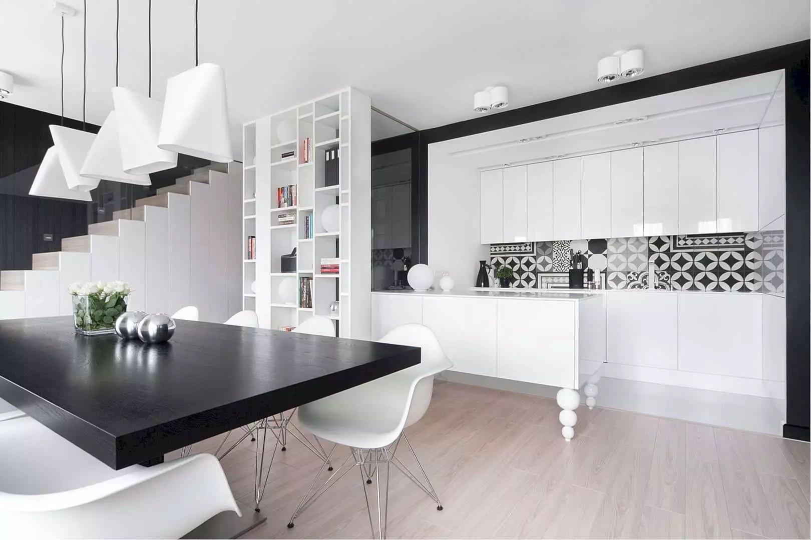 Mieszkanie Sosnowiec: Three-Level Apartment with Elegant Interior and Black-White Elements