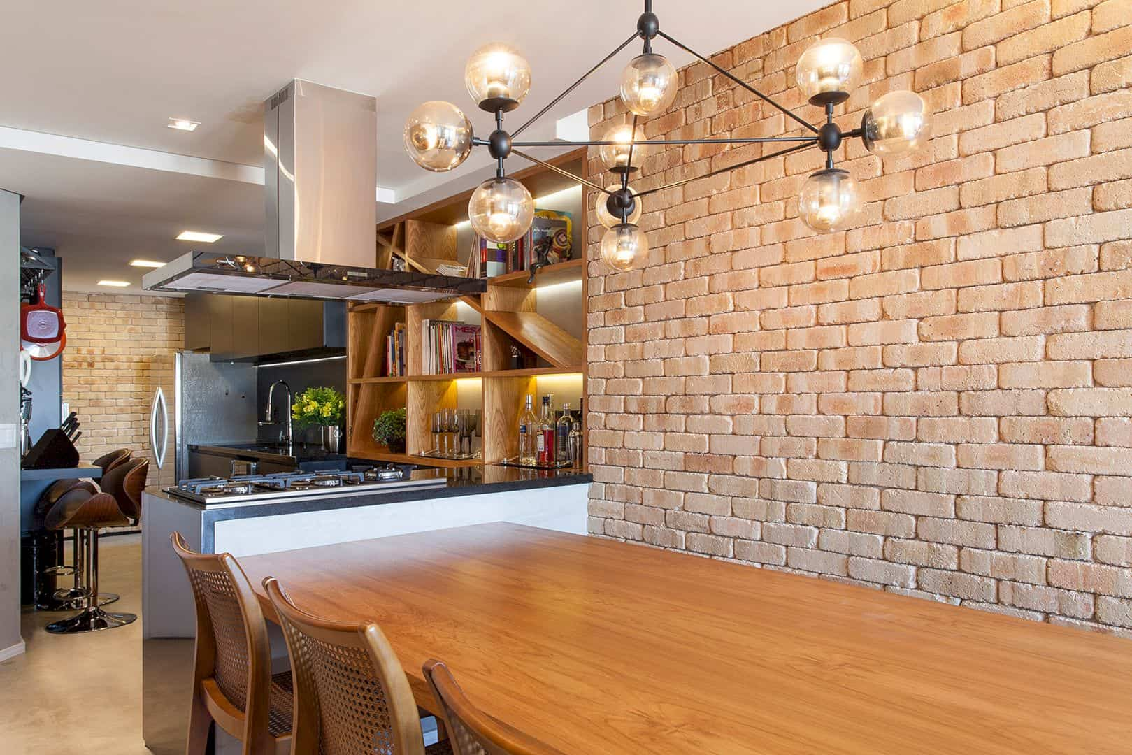 Tucuna Apartment: Brick and Wooden Walls in A Modern Apartment with Black Kitchen