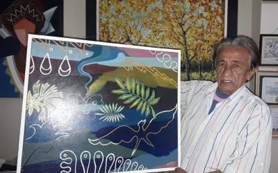 Alex Chavez, Pintor dona pintura a FUVIDA.