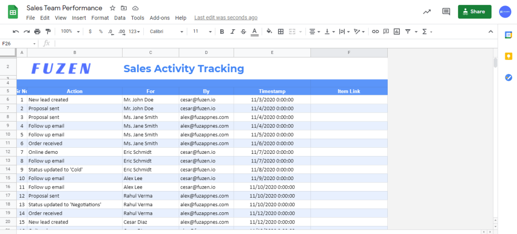 track sales activity in spreadsheet