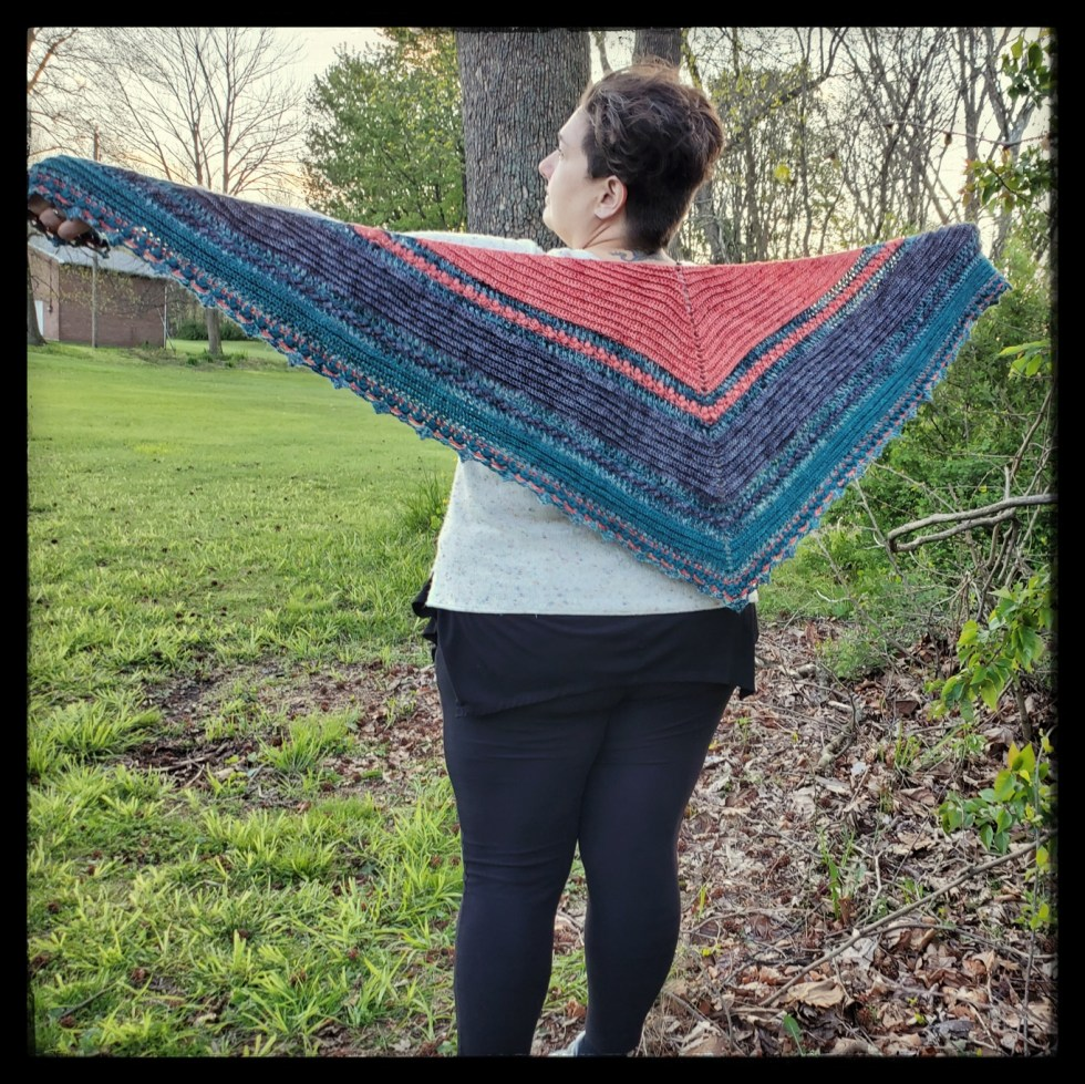 Displaying Finished shawl using A Safe Space kit