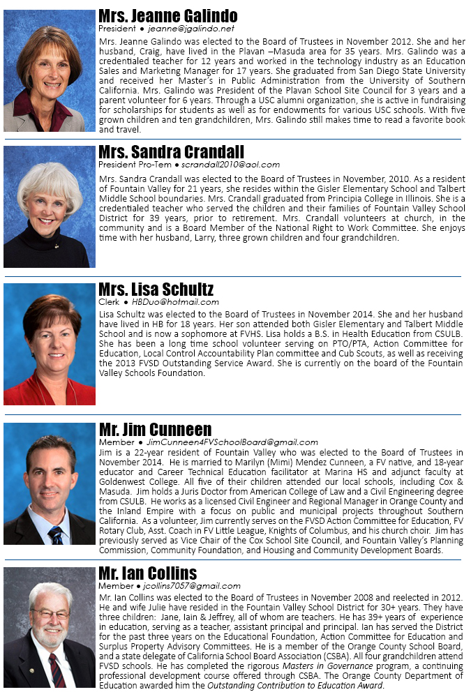 Fountain Valley School District Board Members