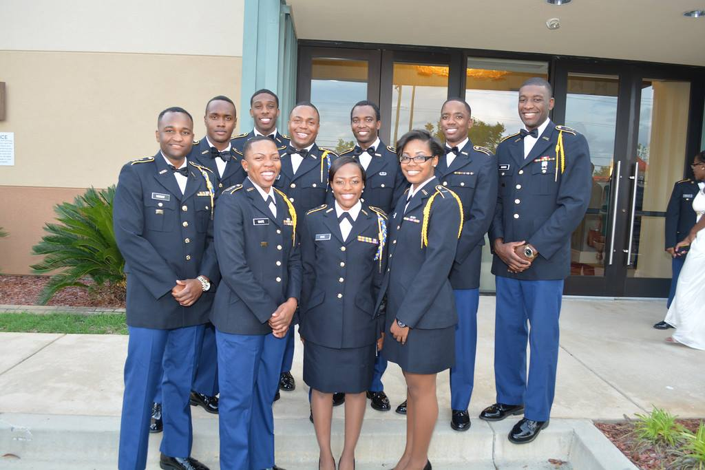ROTC students outside a ball.